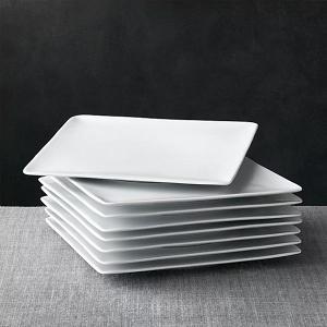 White square dinner plates