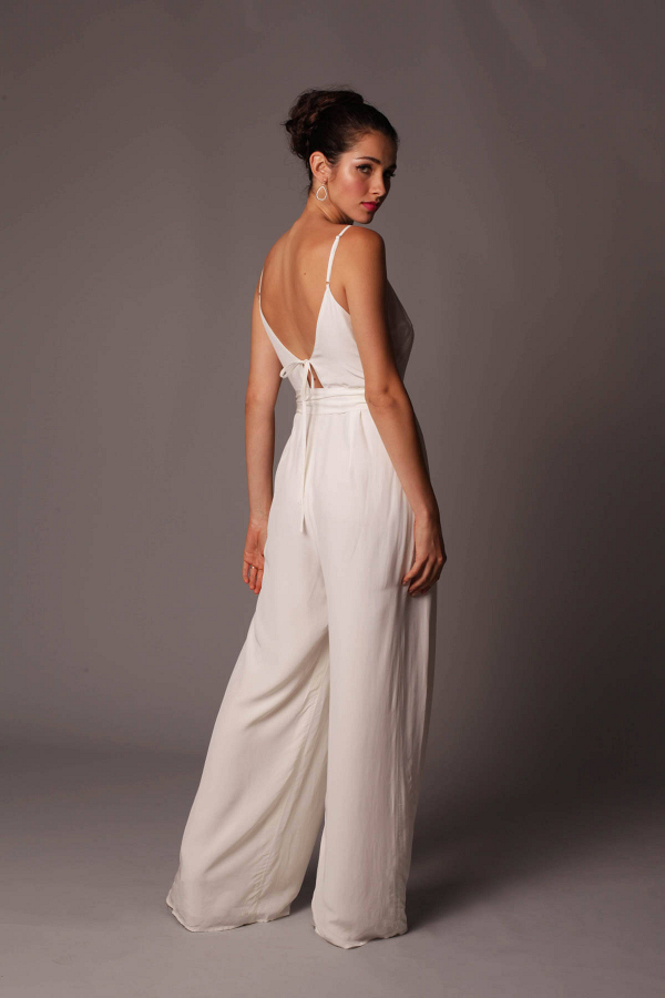 Wide-Leg Bridal Jumpsuit Back