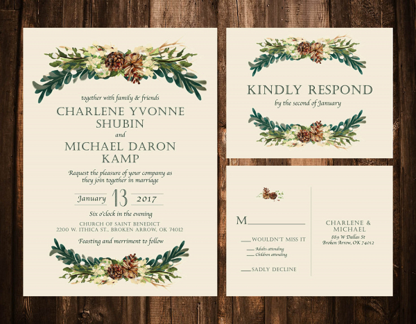 Boho Winter Wedding Invite