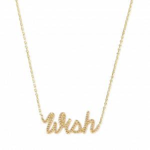 Wish Script Pendant Necklace