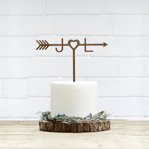 Wooden Arrow Wedding Cake Topper