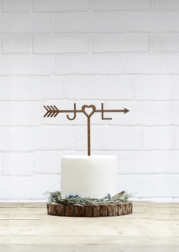 Wooden Arrow Wedding Cake Topper