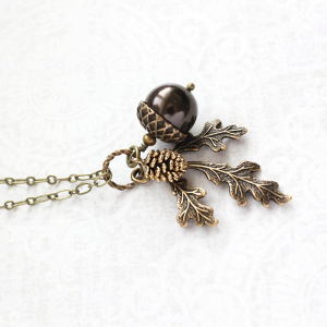 Woodland Acorn Bridesmaid Necklace