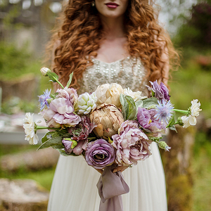 Dusty-purple bridal bouquet