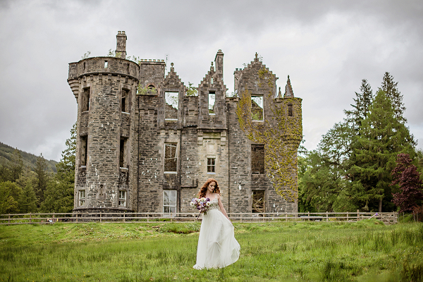 Woodland fairy-tale wedding shoot at Dunans Castle