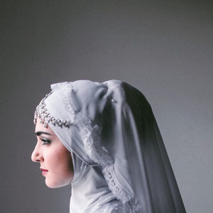 Muslim bride wearing hijab