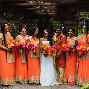 Indian bridal party in orange