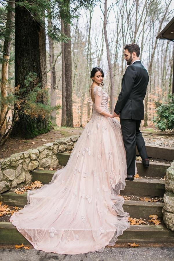 Bride in blush wedding dress on The Big Fat Indian Wedding