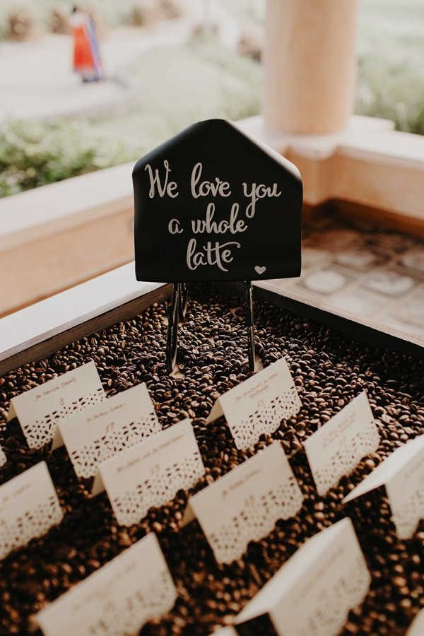 Coffee themed escort cards
