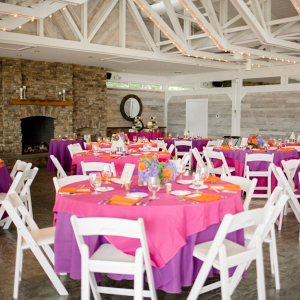 Pink, orange, and purple reception