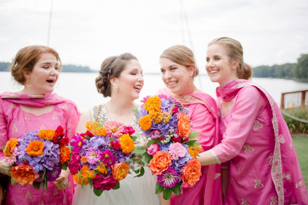 Pink bridesmaids in saris