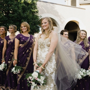 Purple sari wedding party