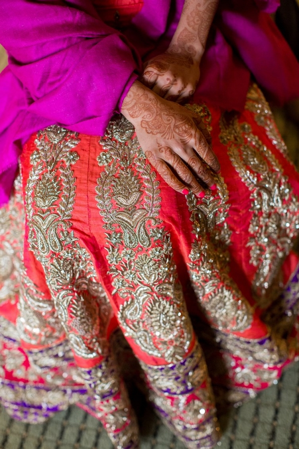 Indian Bride Wearing a Purple and Red Lengha