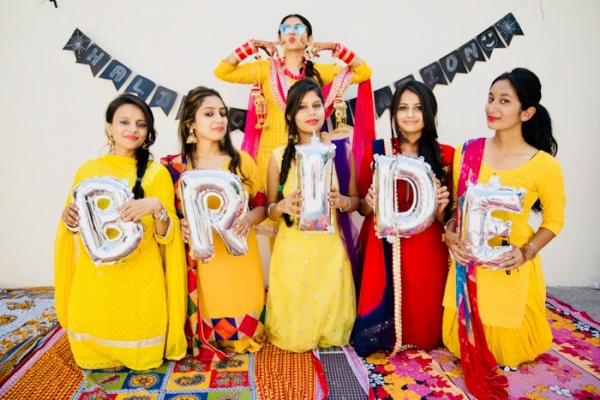 Indian bride with bridal party