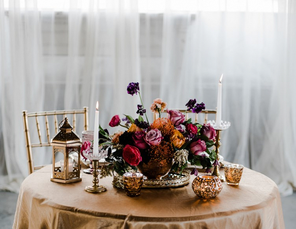 Elegant jewel toned centerpiece