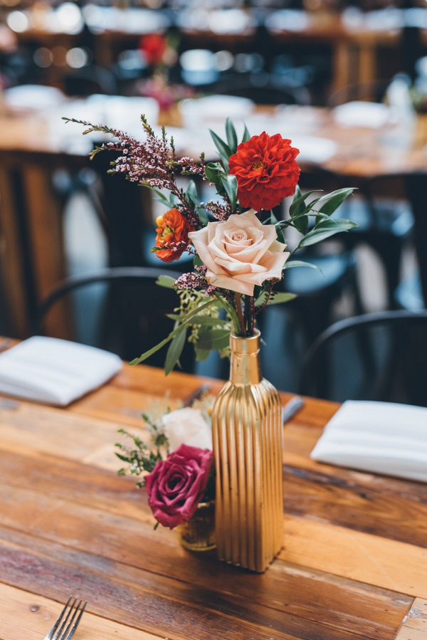 Gold bottle centerpieces