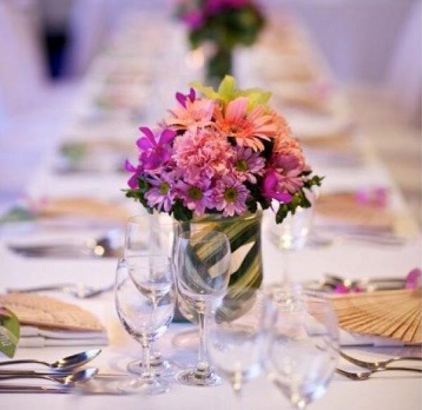 Purple Peach Flower Centerpiece Decor