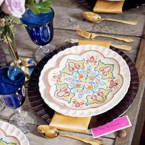 Colorful Indian inspired tablescape
