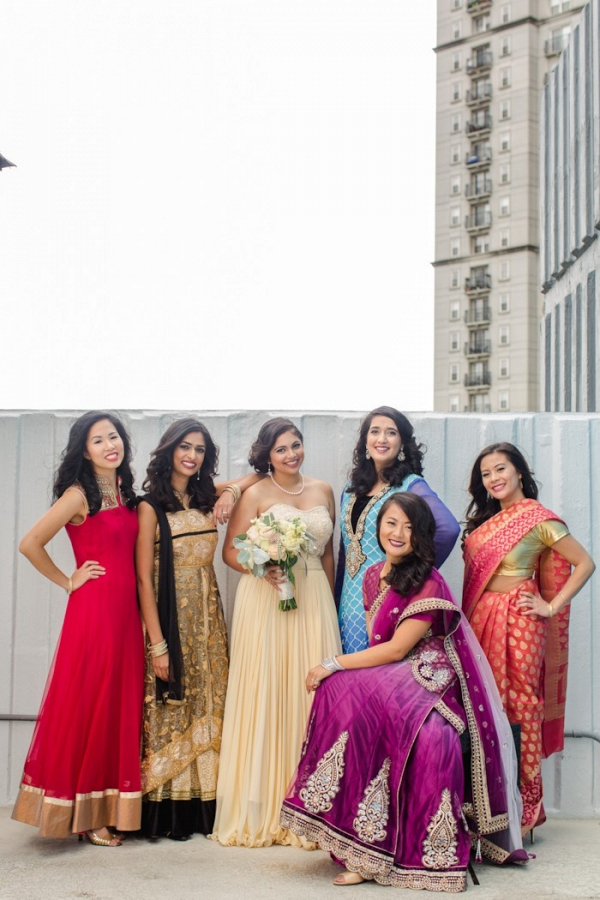 Indian bridesmaids in saris