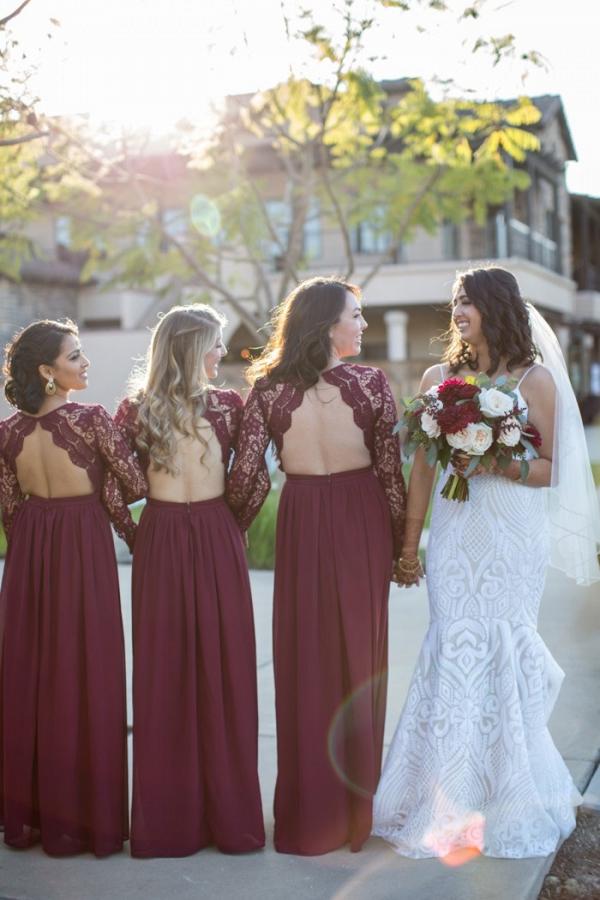 Burgundy lace bridesmaid dresses