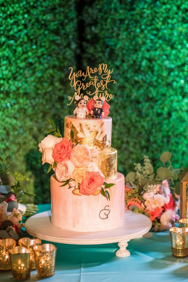 Painted pink and gold cake