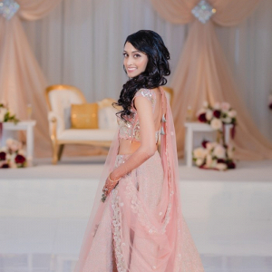 Indian bride in blush pink lehenga