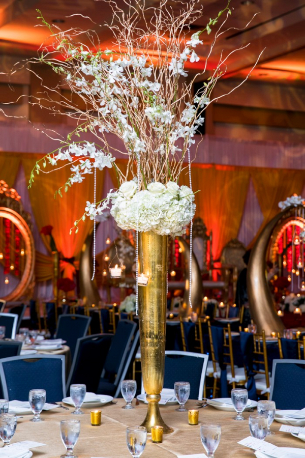 Gold and white centerpiece