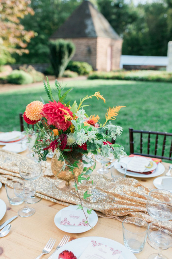 Red and gold tablescape
