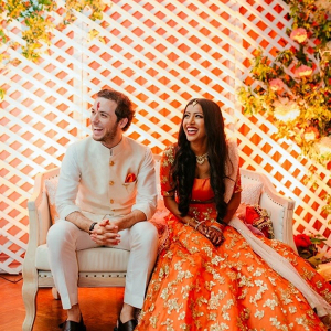 Orange engagement party on The Big Fat Indian Wedding