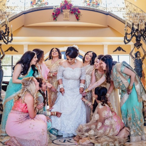 Pink and teal Indian bridal party