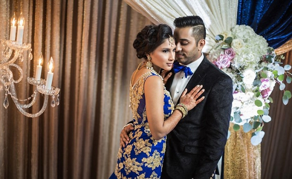 Glam couple in blue and gold on The Big Fat Indian Wedding