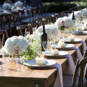 Long farm table reception