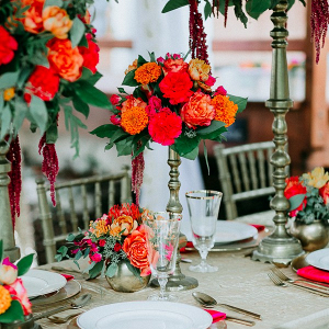Bright red and orange tablescape