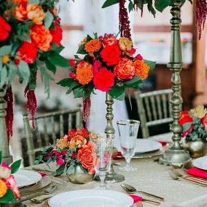 Bright red and orange tablescape
