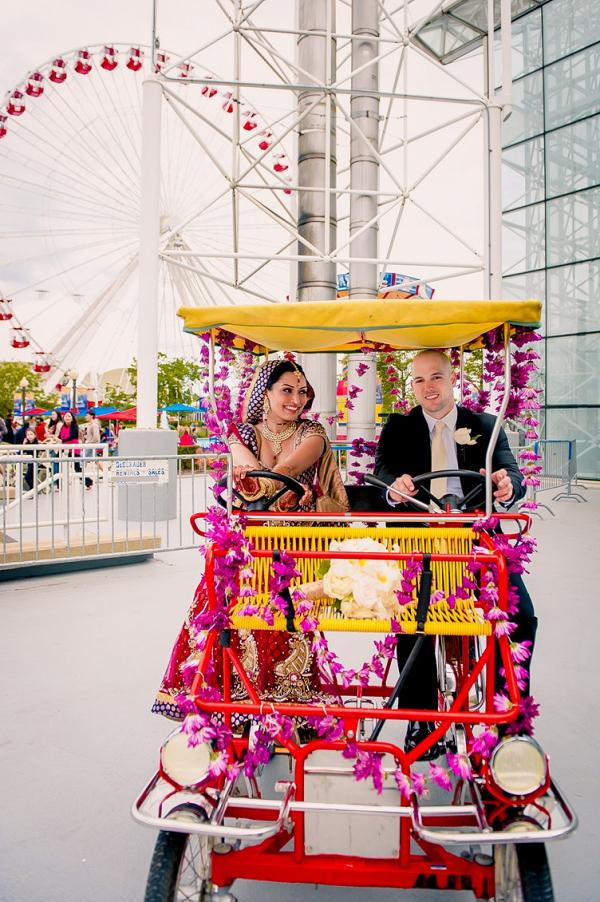 Couple in double bike cart