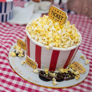 Popcorn themed wedding cake