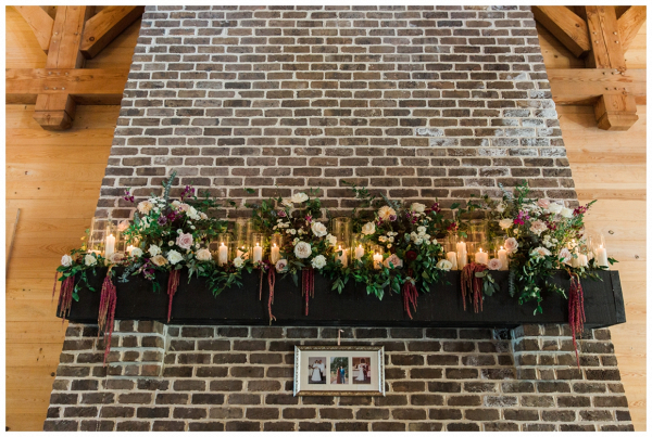 fireplace mantle wedding decoration