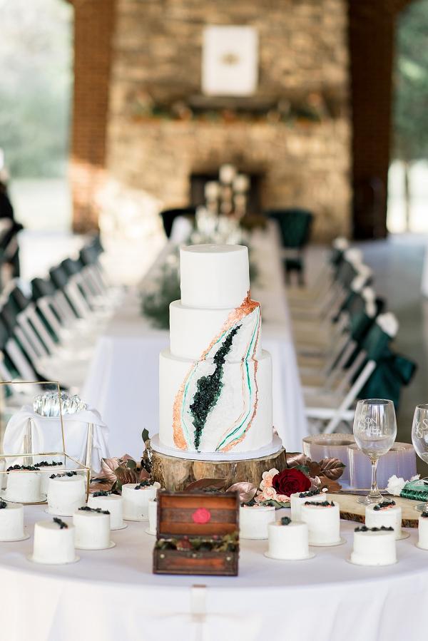 mini geode wedding cake