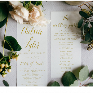 Golden Lettered Wedding Stationery