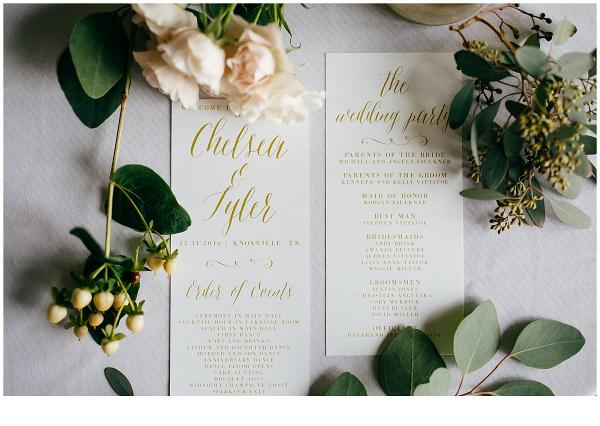 Golden Lettered Wedding Stationery