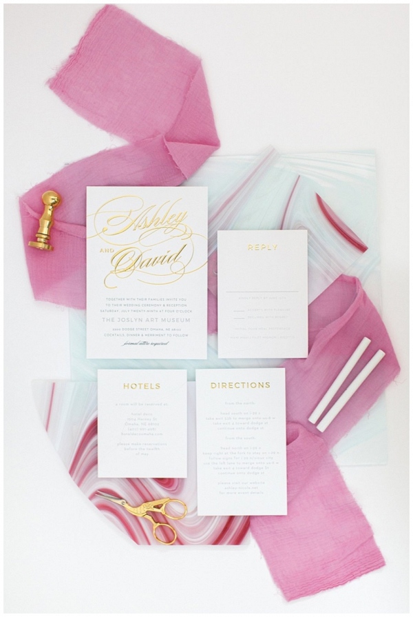 gold and white wedding invitation