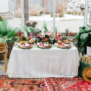 Tropical boho wedding table