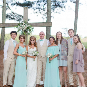 Mint and tan bridal party