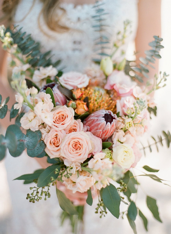 Peach and pink boho bouquet
