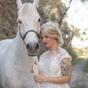 Romantic bride with horse