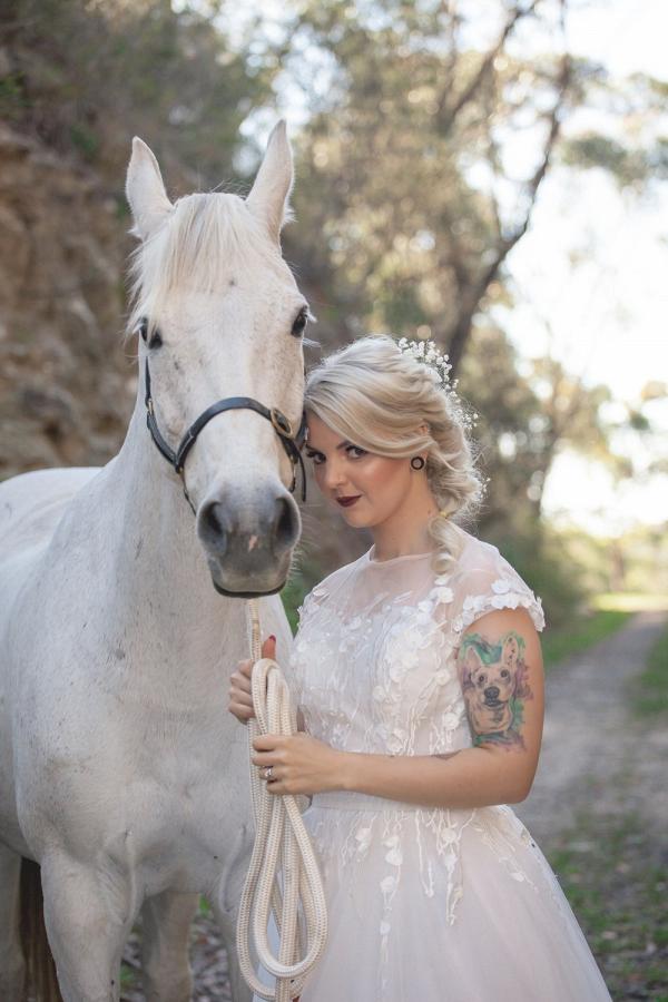 Romantic bride with horse