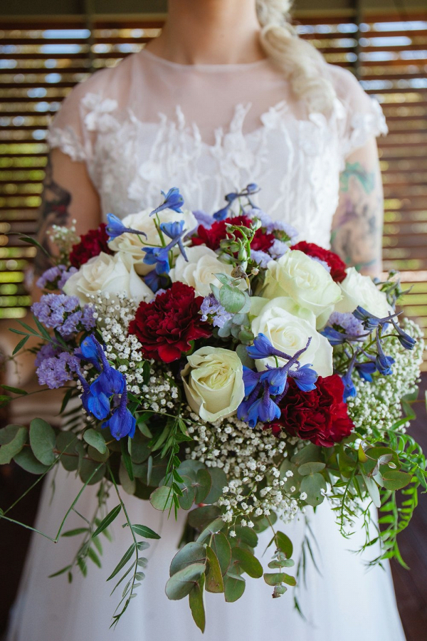 Red, white, and blue bridal bouquet