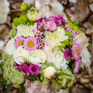 purple and green bouquet on The Budget Savvy Bride
