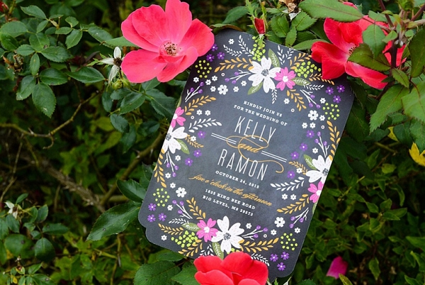 floral wedding invitation from The Budget Savvy Bride