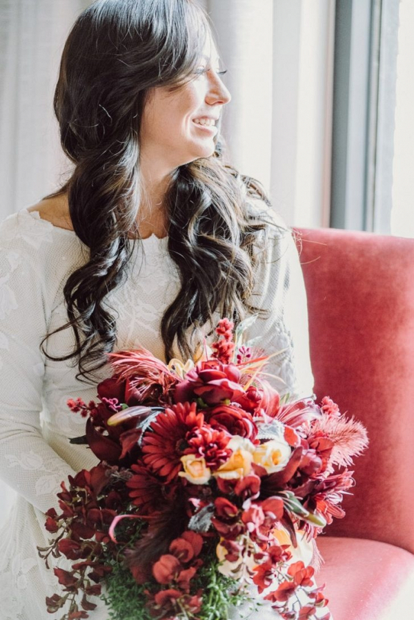 Ruby red bridal bouquet